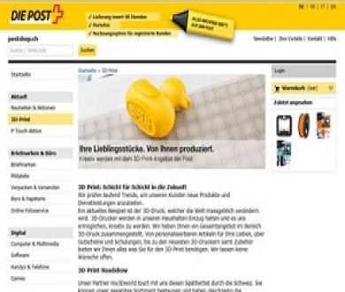 Schweizerische Post lanciert 3D mit my3Dworld GmbH